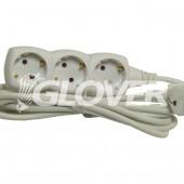 3-as elosztó 3 m-es kábel (GLO 3-3/WH)