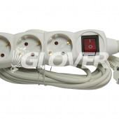 3-as elosztó 5 m-es kábel kapcsolóval (GLK 3-5/WH)