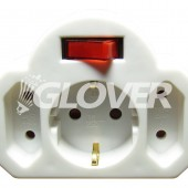 Adapter plug 1- +2-fold with switch (GKHA-3)