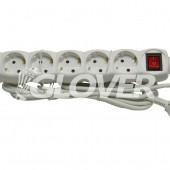 6-os elosztó 5 m-es kábel kapcsolóval (GLK 6-5/WH)