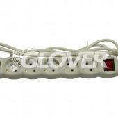 6-os elosztó 3 m-es kábel kapcsolóval (GLK 6-3/WH)