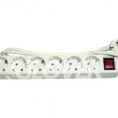 6-sockets 1,5 m extension cable with switch (GLK 6-1,5/WH)